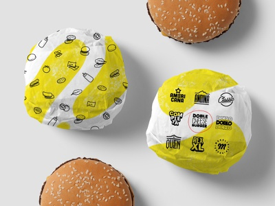 Burger Wrapping design branding illustration pattern iconography icons logos badge cheese food packaging wrap paper hamburger burger
