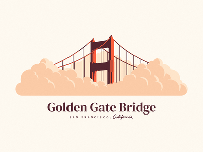 Golden Gate Bridge lettering fog foggy illustration shadow light sunset flat illustration flat california sfo san francisco bridge clouds golden gate bridge