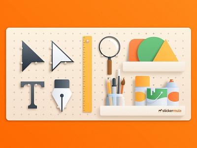 Tools for Graphic Design design mule sticker branding pencil paint zoom cursor text pen gradient vector tools illustration