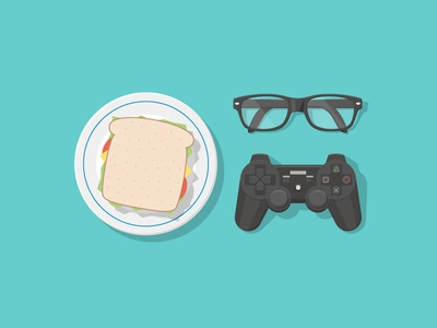 Ready To Play play ps3 playstation glasses sandwich food illustration top shadow plate gamepad game