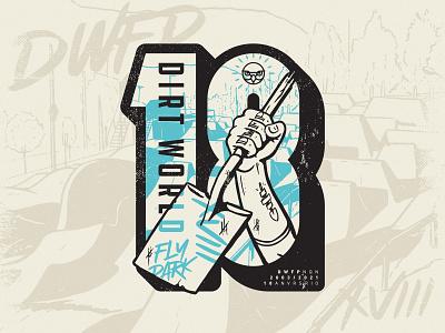 DWFP 18th Anniversary vintage branding logo hand vector procreate bicycle park illustration sticker tattoo fist shovel sport jump dirt bmx