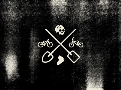 Dirt World X texture grain vintage neuquen branding bicycle mtb jump dirt bmx shovel iconography icon illustration skull