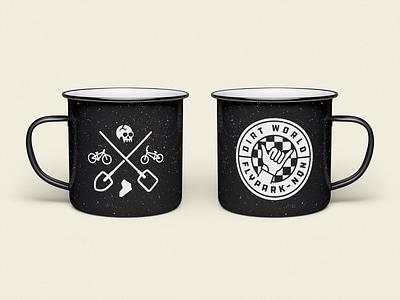 DWFP Metal Mug 2021 argentina mtb jump dirt bmx bicycle skull logo vintage illustration branding metal mug