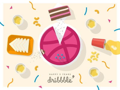 Five Years of Dribbble five years happy birthday party beer sandwich cake table shadow playoff food
