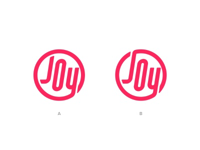 Joy: A or B? branding options simple joy lettering process circle brand logo