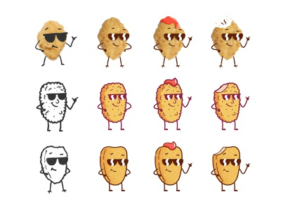 Nugget Pete cartoon glasses options process sketch cool smile design character illustration fast food chicken nugget