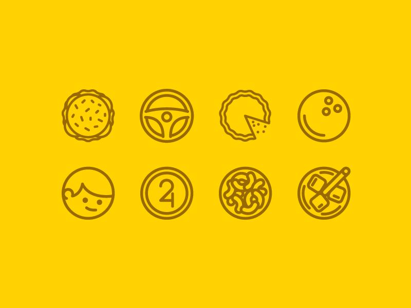 24th Birthday Icons birthday icons me illustration circle cake bowling hamburger drive food