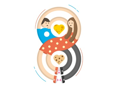 8x3 love couple girl boy 8 eight cheese cookie food illustration geometric infinity