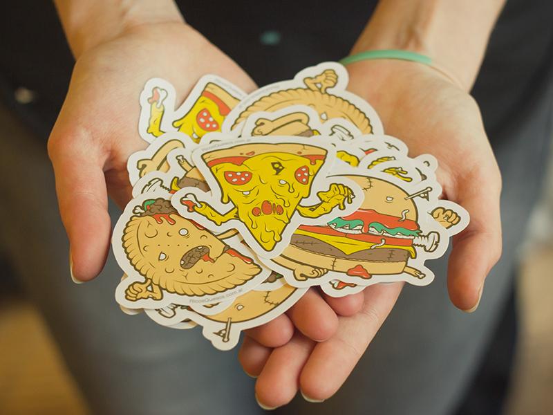 Trick or Stick stickers food halloween hamburger pizza meat photo illustration