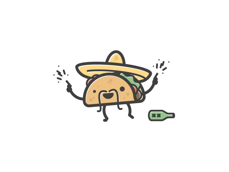 Happy Birthday Alejandro! happy birthday taco mexican food bottle illustration stroke guns sombrero