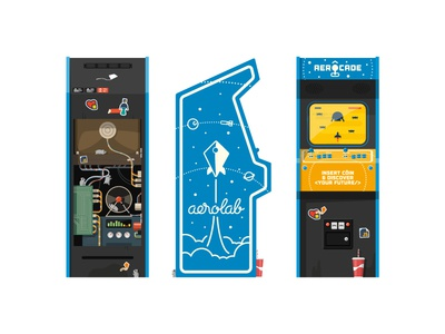 [Free blueprint & papercraft] Aerocade arcade jsconf argentina hamster video game illustration vector freebie print papercraft diy space