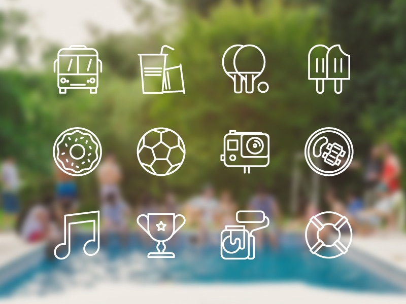 Party icons! Goodbye 2014 icons food video gopro sports pool simple stroke party summer