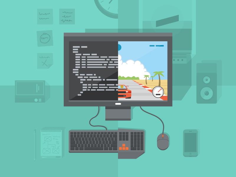 Game development game development outrun pc illustration flat shadow code desk computer
