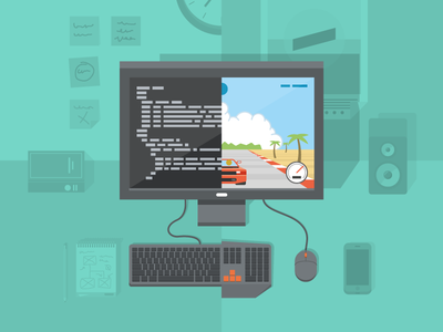 Game development game development outrun pc illustration flat shadow code desk computer