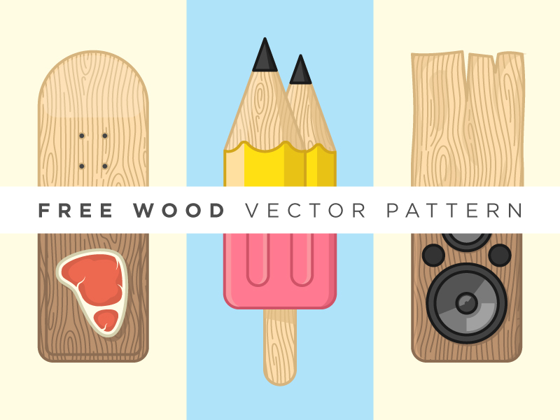 Free Wood Vector Pattern pattern vector free freebie stroke wood food ice cream skate pencil plank illustration
