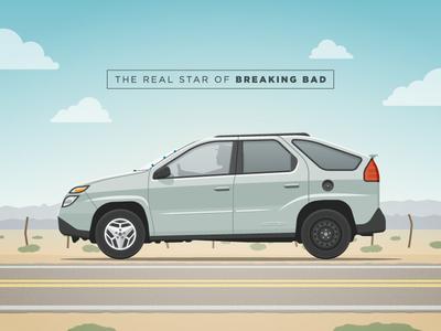 The real star of Breaking Bad breaking bad aztek pontiac car road route illustration tv show heisenberg walter white