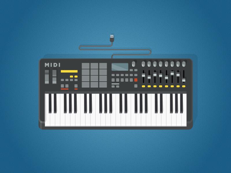 Midi Keyboard midi keyboard music electronic illustration flat shadow control