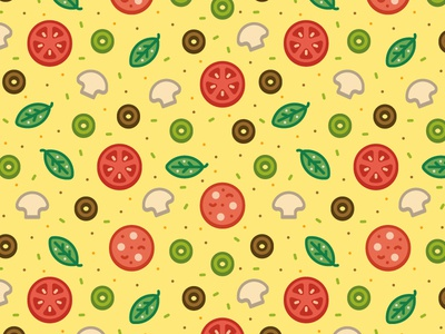 Pizza Pattern pizza pattern society6 cheese tomato pepperoni olive ingredients food stroke mushroom