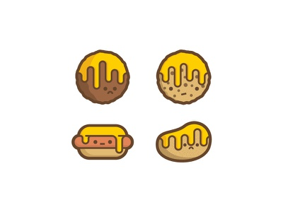 Victims 2 meatball cookie hot dog potato cheese sad funny illustration stickers food ooze melt