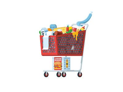 Answers cart shopping market supermarket food sticker mule playoff arm illustration flat cheese hamburger