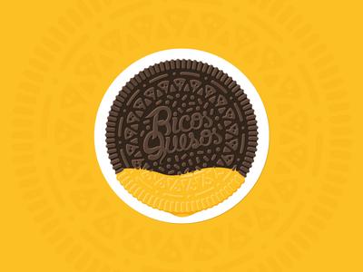 RQookie circle circular pattern sticker illustration food chocolate cheese oreo cookie