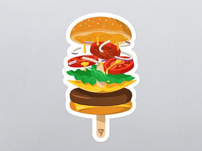 Summerburger playoff ice cream wood tomato cheese food sticker mule illustration gravity floating burger hamburger