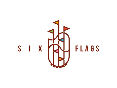 Six Flags brand stroke simple logo park rollercoaster flags six