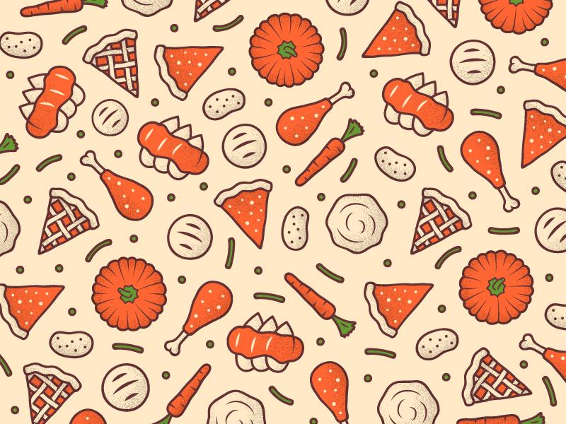 Thanksgiving Pattern for Sticker Mule grain noise stroke potato carrot pumpkin turkey mule sticker food pattern thanksgiving