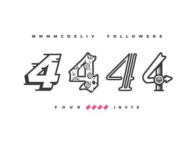 4444 = 4 Invites googies pizza typography type illustration thanks dribbble invites invite followers four 4