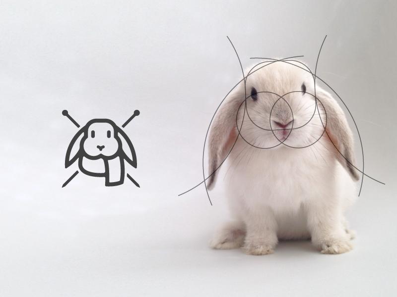 The living grid fluffy animal stroke knit knitting logo grid geometric head rabbit cute bunny