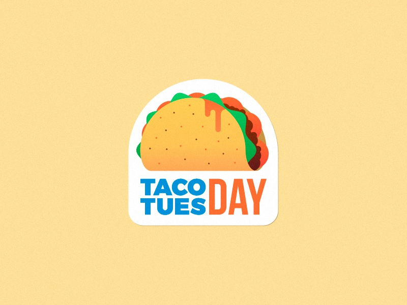 Remember, next tuesday is... mexican simple food illustration gradient flat sticker tuesday taco