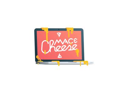 [Sticker] Mac & Cheese laptop lettering melt illustration food cheese mac macbook sticker