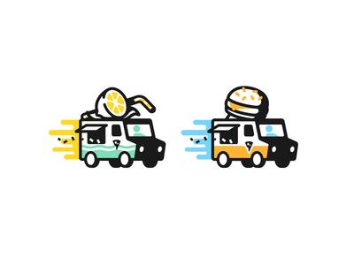 L vs H sticker race trucks stroke hamburger burger food truck lemonade