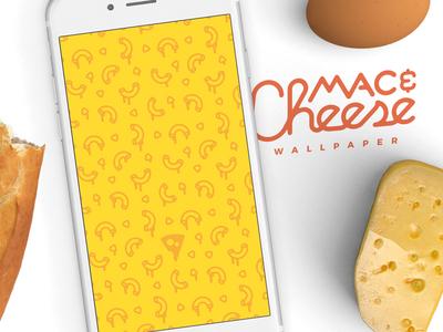 [Free wallpaper] Mac & Cheese iphone simple stroke melt pattern free freebie wallpaper food cheese mac