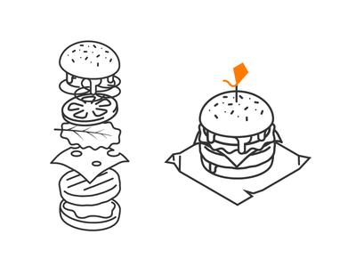 Hamburger Design floating melt logo kite stroke fast food burger hamburger
