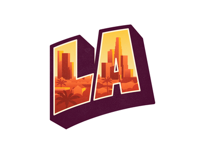 LA palms gold sunset buildings city downtown la sticker california los angeles