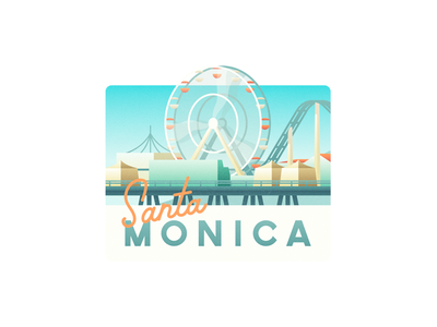 Santa Monica illustration sticker california park summer rollercoaster pier monica santa