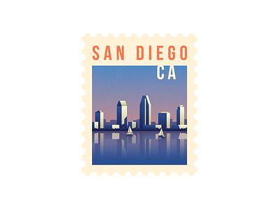 San Diego california postal stamp illustration lights sunset city boats san diego marina