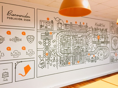 The mural it's alive! stroke wall deco fun funny food kite city office mural illustration