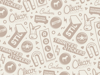 Products Pattern shipping worldwide stroke mule lettering pattern mascot button magnet sticker