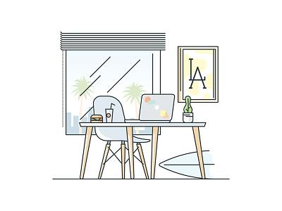 LA Desk illustration stroke office work palm eames century mid desk california la los angeles