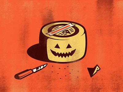Halloween Cheese texture grain illustration horror terror face happy food knife halloween pumpkin cheese