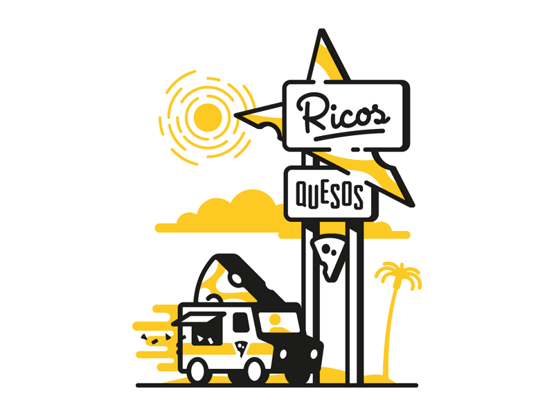 Ricos Googies sign illustration stroke day sunny googies food truck delivery cheese