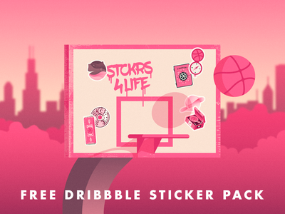 Free Dribbble Sticker Pack shadow midnight city basketball hop mule pack sticker dribbble free