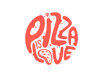 Pizza is love tomato sauce cheese pepperoni food retro vintage lettering love friday pizza