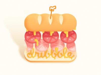 Dribbble Sandwich food logo levitate floating mule sticker mayo melt cheese ham dribbble sandwich
