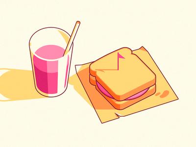 Dribbble sandwich 2 stroke flat shadow ham food dribbble pink drink sandwich stickermule