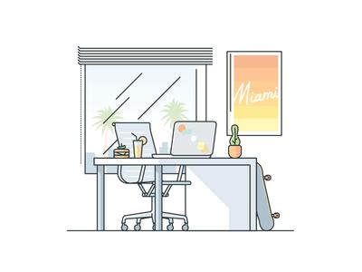 Miami Desk drink work macbook stroke sandwich window remote office desk florida miami