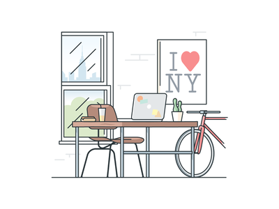 NYC Desk bicycle love food hot dog macbook remote office desk nyc city york new