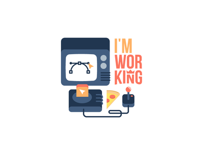 I'm working: iOS free sticker pack console vector game video designer pack sticker food slice pizza illustrator working